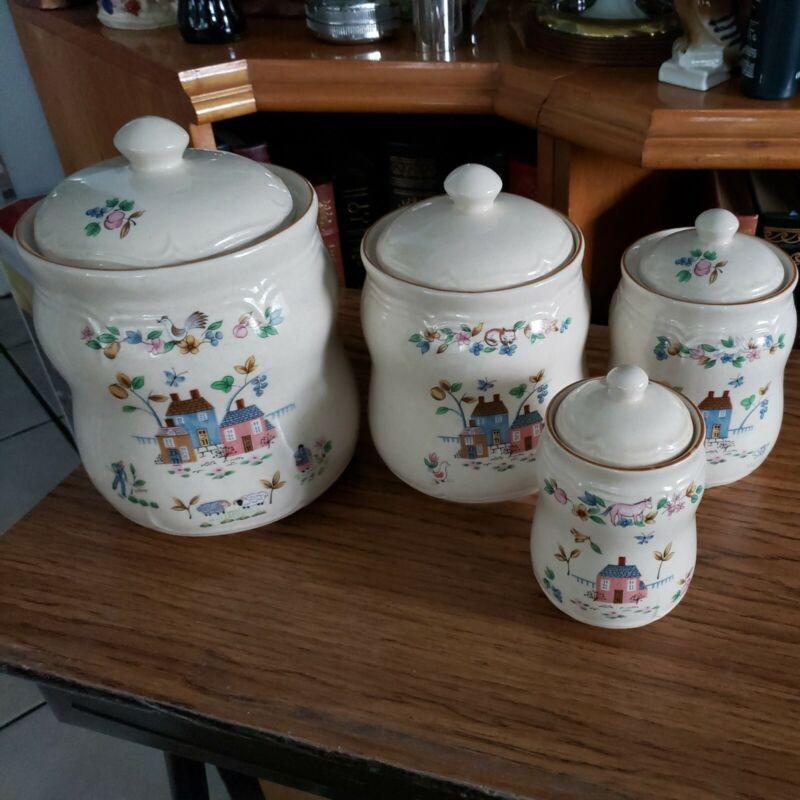 International China Heartland Set of 4 Canisters Farm Scene Stoneware Cookie Jar