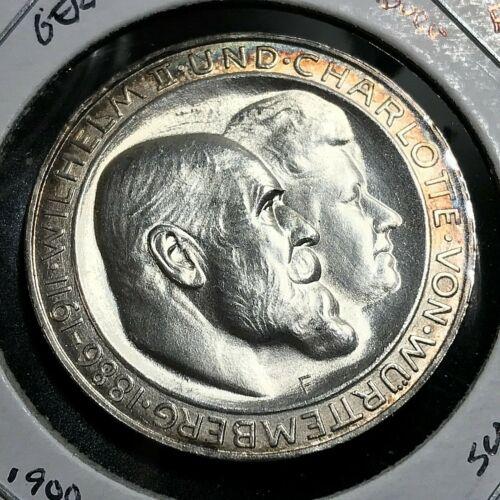 1911-F GERMANY WURTTEMBURG SILVER 3 MARKS GEM BRILLIANT UNCIRCULATED