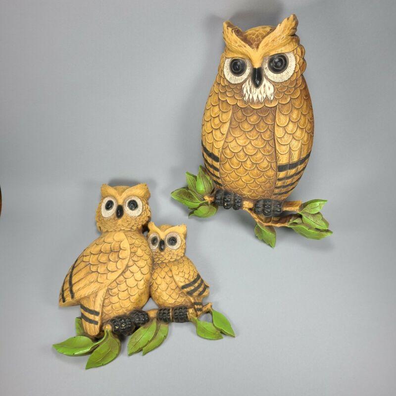 Vintage Homco Dart Owl Pair Wall Art Plaque