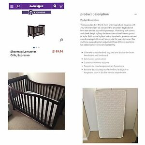 3 in 1 Espresso Crib & Mattress