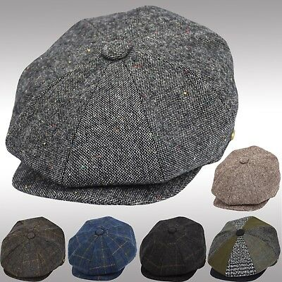 Men's Wool Herringbone Newsboy Cap Driving Cabbie Patchwork Tweed Applejack Hat