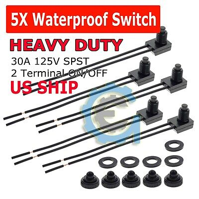 5pcs 12v 4 Wire Leads Waterproof On-off Push-button Switch For Motorcycle Car