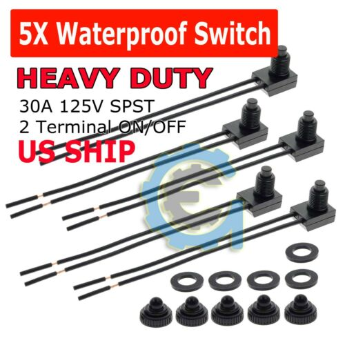 """5pcs 12V 4"""" Wire Leads Waterproof On-Off Push-Button Switch for Motorcycle Car"""