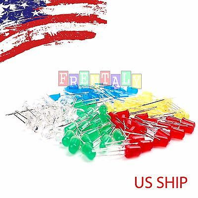 100 Pcs 5mm Led Light White Yellow Red Blue Assorted Assortment Kit Diy Set