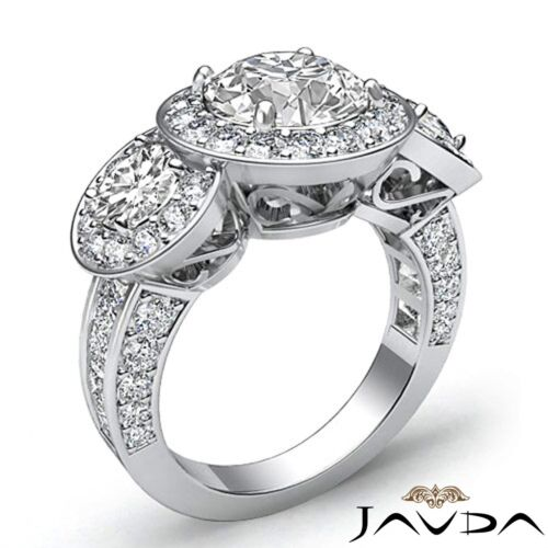2.8ct Halo Pave Round Diamond Engagement 3 Stone Ring GIA F VS2 14k White Gold 1
