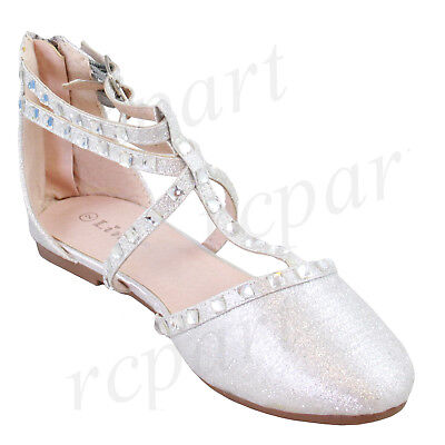 - New girl's kids back zipper gladiator shoes silver formal holiday