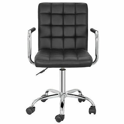 Black Desk Chairs With Wheelsarmrests Modern Pu Leather Office Chair Midback