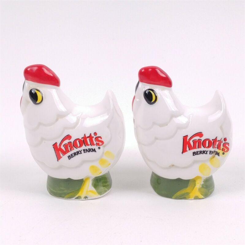 Ceramic Knotts Berry Farm Chicken Hen Rooster Souvenir Salt & Pepper Shakers
