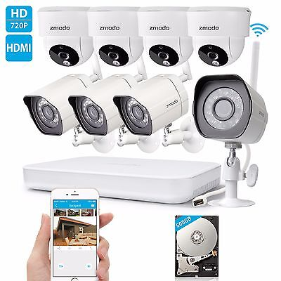 Zmodo 1080p 8CH NVR 1.0 Megapixel HD Wireless Home Security Camera System 500GB