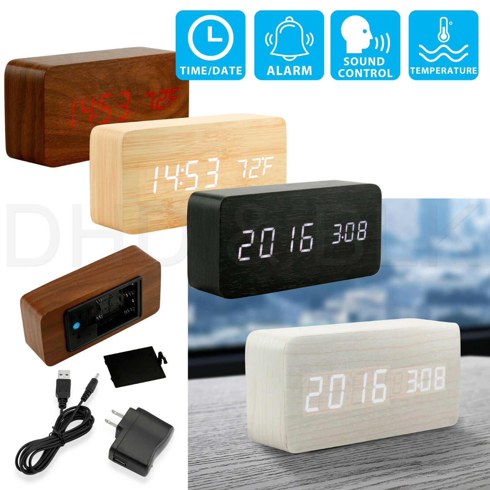 Modern Wooden Alarm Clock Wood USB/AAA Digital LED Calendar