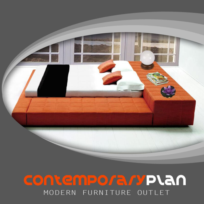 "Contemporary Mango Colored Upholstered Platform Bed ""Cubix"" - King Size"