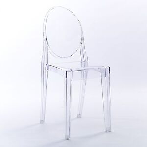 NICHES Ghost Starck Clear Dining Office Chair Modern Stylish Armless Acrylic