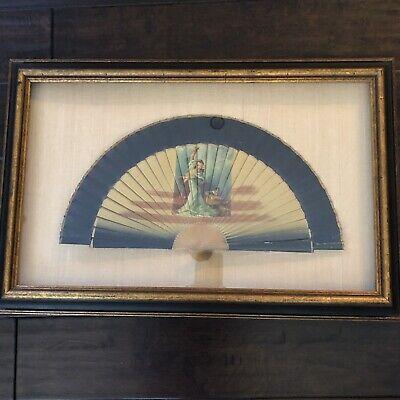 """Antique Silk Wood Hand Fan Flamenco Dancer Framed Shadowbox 24"""" X 16"""" X 1 1/2"""""""