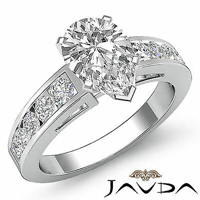 4 Prong Channel Setting Pear Diamond Engagement Ring GIA Certified H VS2 1.75Ct