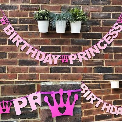 HAPPY BIRTHDAY PRINCESS BANNER Daughter Disney party decoration girl pink 1st ()