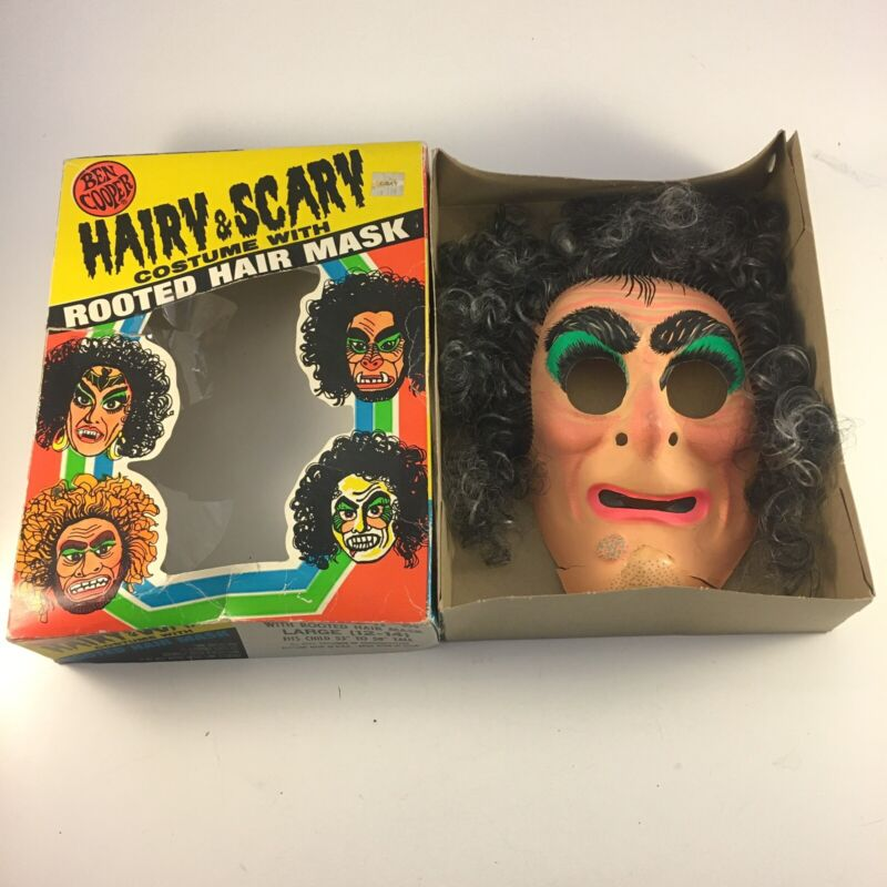 Vintage 70's Ben Cooper Witch Hairy & Scary Costume Rooted Hair Mask Halloween