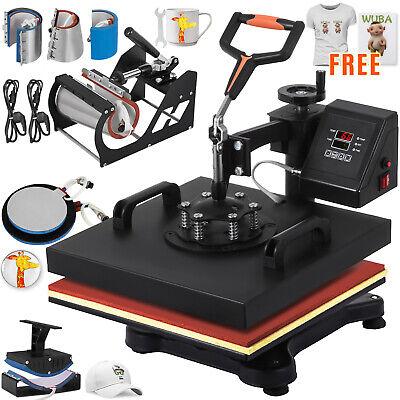 8 In 1 Heat Press Machine Transfer 12x15 Hat Plate Pattern Printing Combo Kit