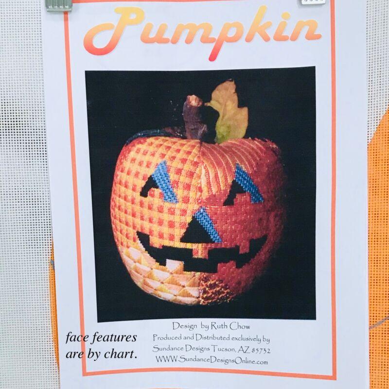 Hand painted Needlepoint canvas Sundance Des Ruth Chow 3D pumpkin & Stitch Guide