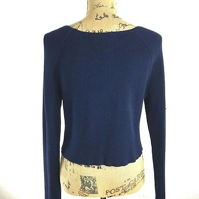 White House Black Market Crop Sweater Navy Blue Long Sl Chunky Rib Boat Sm NICE