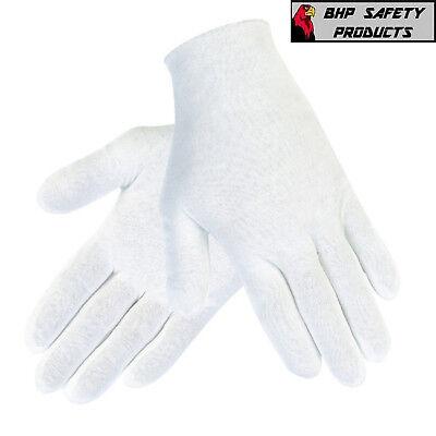 12 PAIR 1DZ WHITE INSPECTION COTTON LISLE GLOVES COIN JEWELRY LIGHTWEIGHT - White Gloves