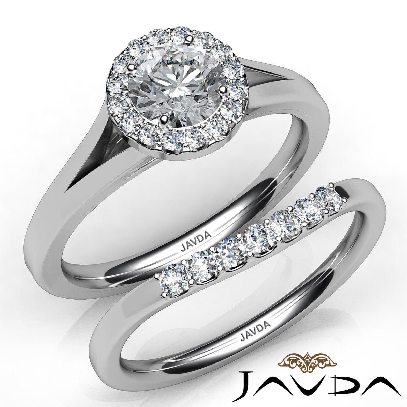 1.17ctw Classic Bridal Halo Pave Round Diamond Engagement Ring GIA J-VS1 W Gold
