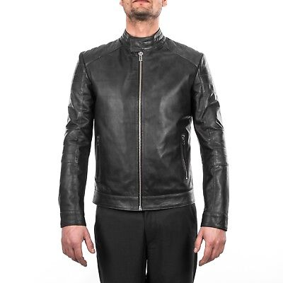 ITALIAN HANDMADE MEN GENUINE LAMB LEATHER JACKET SLIM FIT PETROL GREY DISTRESSED Black Distressed Italian Leather Jacket