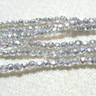 "Czech Fire Polish Glass Silver 2mm Round 50 Beads 4.5"" Spacer Accent DIY Jewelry"