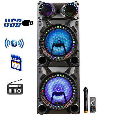 "BEFREE SOUND 12"" DUAL SUBWOOFER BLUETOOTH PORTABLE DJ PA PARTY SPEAKER w/LIGHTS"