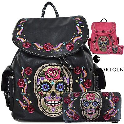 Sugar Skull Day of the Dead Rose Backpack Daypack Women School Bag Purse Wallet (Day Of The Dead Purse)