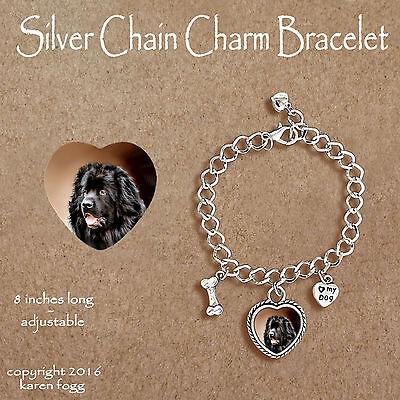 Newfoundland Dog Charm - NEWFOUNDLAND DOG - CHARM BRACELET SILVER CHAIN & HEART