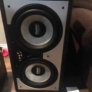 2 x Clarion pro Audio 12 inch subs in sealed box and amp