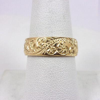 Solid 10K Yellow Gold Hand Engraved Royal Hawaiian Scroll Ring Band 6mm