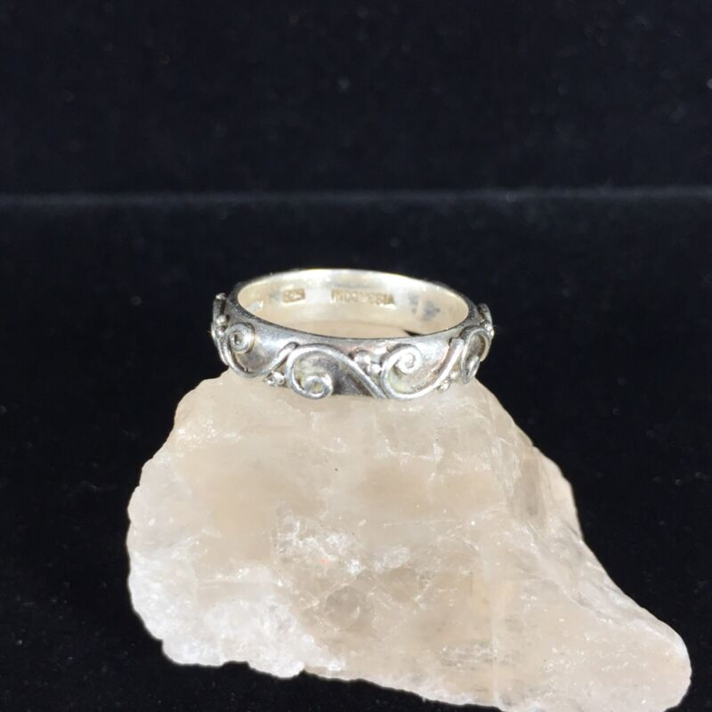 Vintage Sterling Silver Ring Bali Style Band Ornate Scroll Beaded Signed Size 6