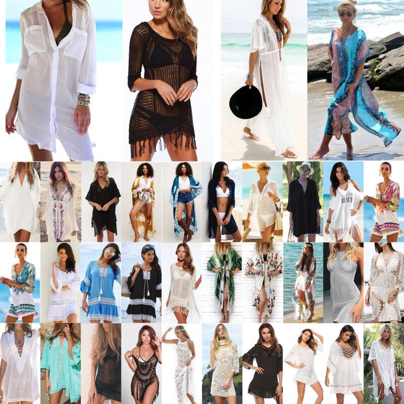 Damen Bikini Cover Up Kleid Vertuschung Strandkleid Bademode Sommerkleid Longtop
