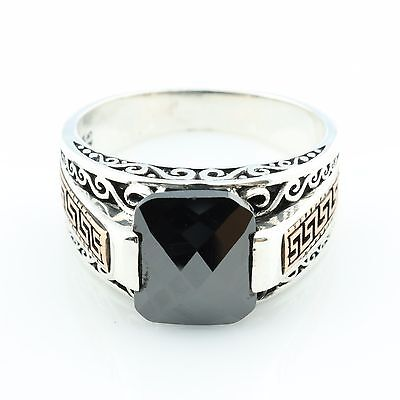 Unique Fligree 925 Silver Zircon Men's Ring US Seller - Best Gift for Him