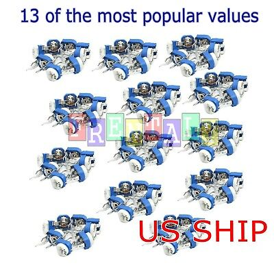 130pcs 13 Value Phenolic Potentiometer Trimpot Variable Resistor Assortment Kit