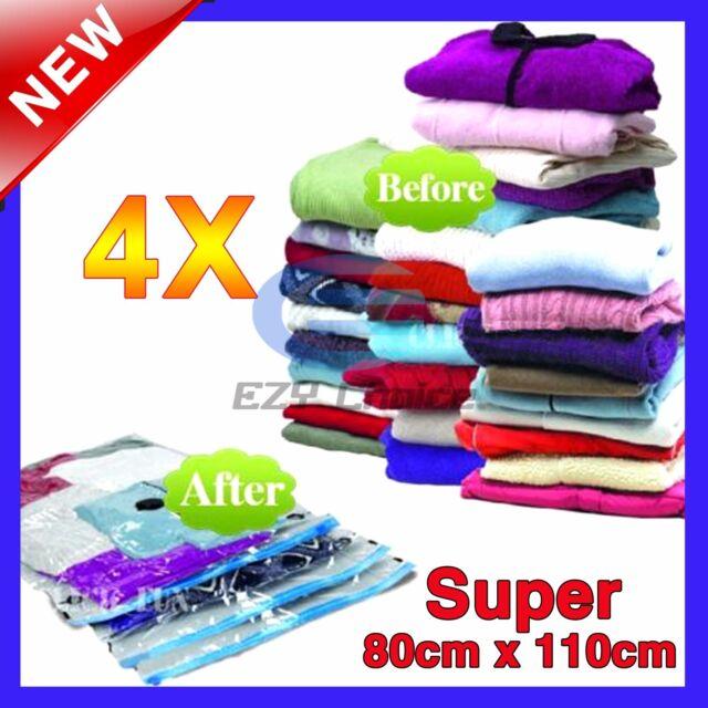 4x SUPER SIZE Vacuum Storage Saver Bags space saving Ultimate Storage Solution