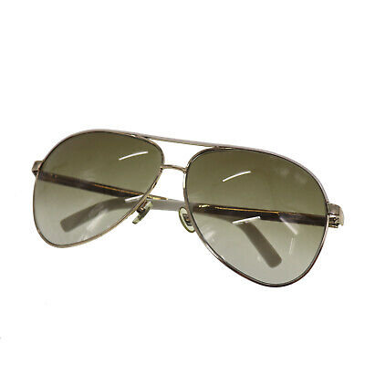 Gucci Logos Sunglasses White Gold Eye Wear Vintage Italy Authentic #AB530 O