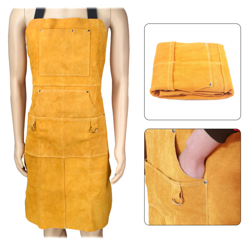 Leather Welding Apron Heavy Duty Tools Shop Work Apron Adjustable Shoulder Strap