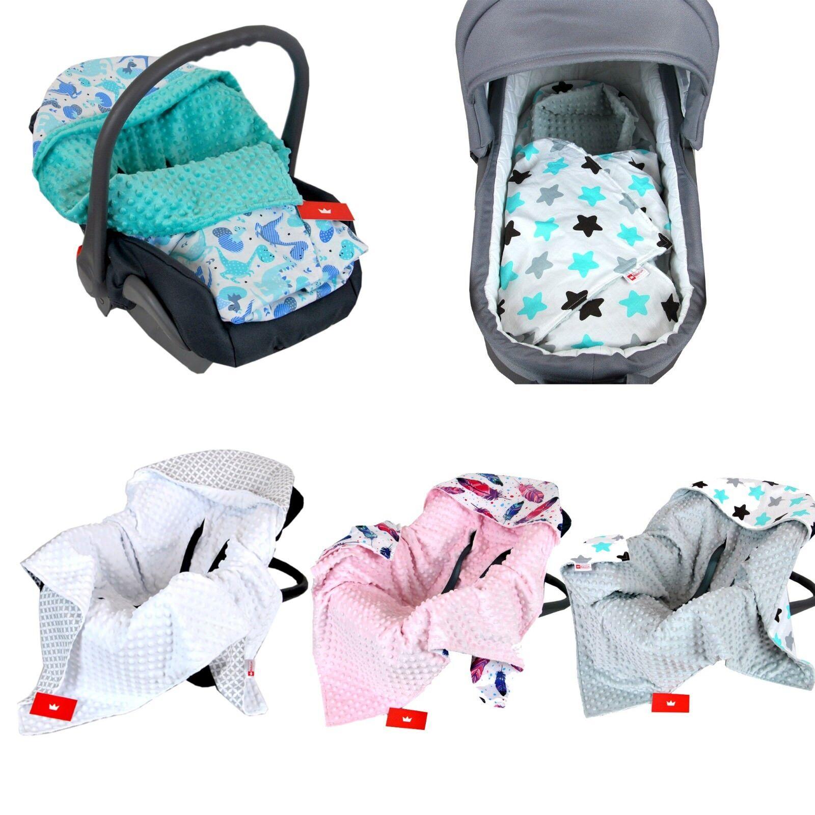 BabyLux Baby EINSCHLAGDECKE 90x90 cm Babyschale Kinderwagen Buggy Minky Decke