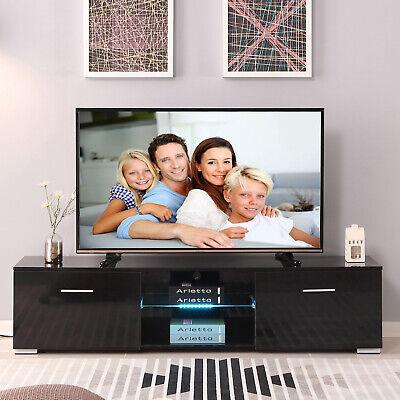 63'' High Gloss TV Stand Media Entertainment Center With Shelf LED Light