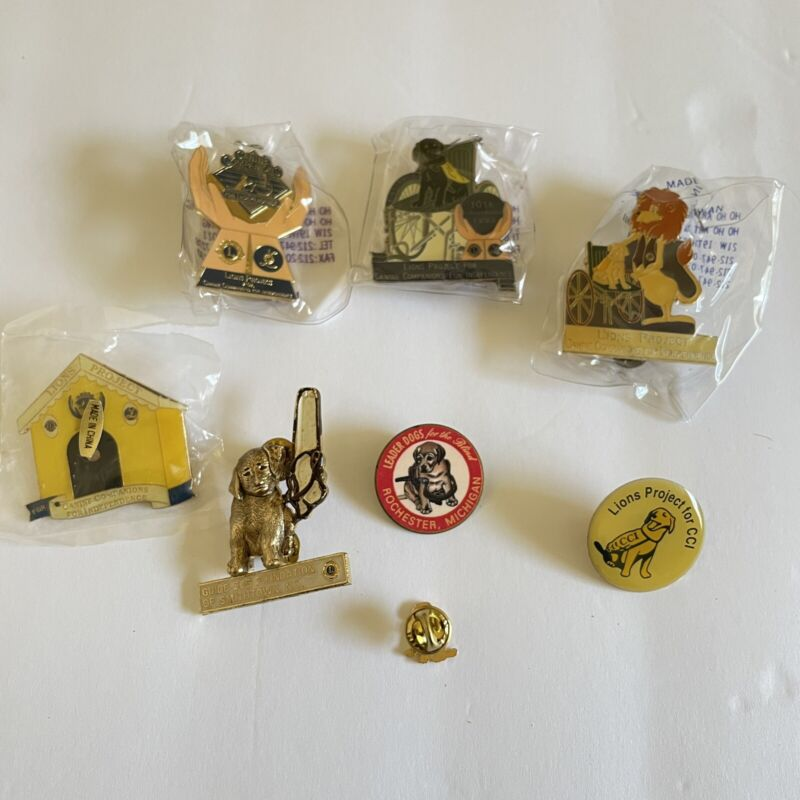 Lions Club Pins Lot of 8 Assorted New Used CCI Guide Dog Vintage