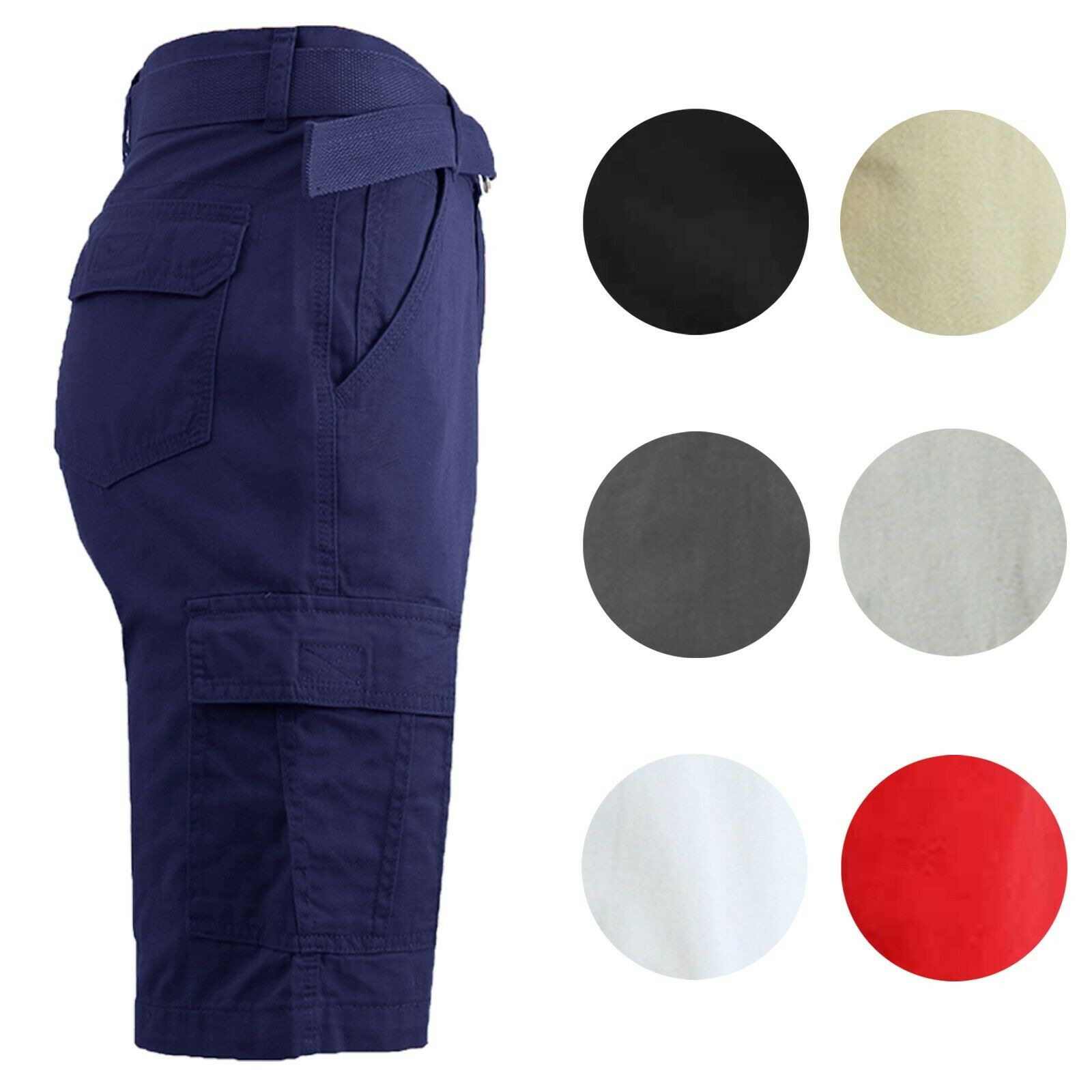 Mens Cargo Shorts Cotton Flat Front Belted Lounge Colors Pockets NEW 30-42 Clothing, Shoes & Accessories