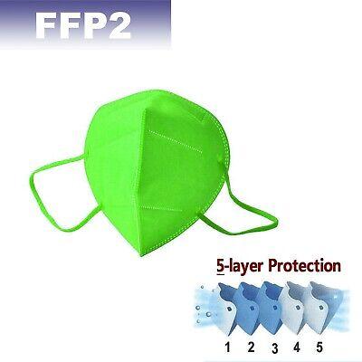 FFP2 Maske Atemschutzmask 5x Mundschutz CE zertifiziert einzeln verpackt Grün 5x