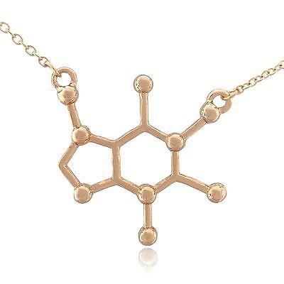 Caffeine Molecule Science Pendant Necklace
