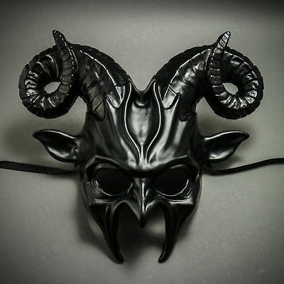 BLACK Halloween Mask Scary Animal Devil Ram Horns Masquerade Costume Cosplay](Scary Halloween Animations)