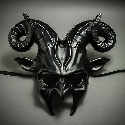 BLACK Halloween Mask Scary Animal Devil Ram Horns Masquerade Costume Cosplay