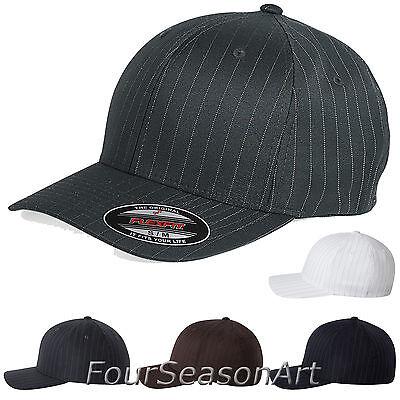 Flex Fit Pinstripe Hat - Flexfit Pinstripe Fitted Baseball Cap Plain Original Hat Ballcap S/M L/XL 6195P