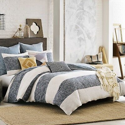 KAS ROOM South Hampton TWIN White Blue Comforter DUVET COVER EURO SHAM $150 NEW