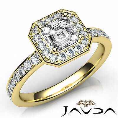 Asscher Diamond Halo Pave Set Anniversary Ring GIA G VS1 18k White Gold 0.95Ct 7
